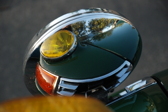 Irish Green Porsche 911S with amber lensed headlights _ driving light reflections_Cars&Coffee/Irvine_April 27, 2013