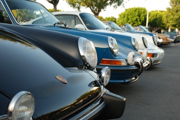 Porsche row color_early  911 front ends & reflections long shot_Cars&Coffee/Irvine_April 27, 2013