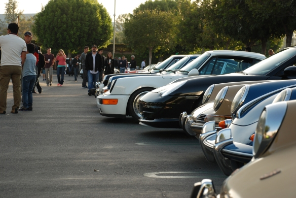 Porsche row color_long shot of row, front ends & reflections_Cars&Coffee/Irvine_April 27, 2013