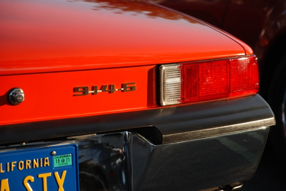 Porsche row color_Tangerine 1970 Porsche 914- 6 _3/4 rear view & reflections_Cars&Coffee/Irvine_April 27, 2013