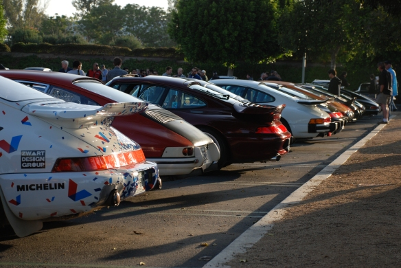 Porsche row color_long shot of rear ends, side view _Cars&Coffee/Irvine_April 27, 2013