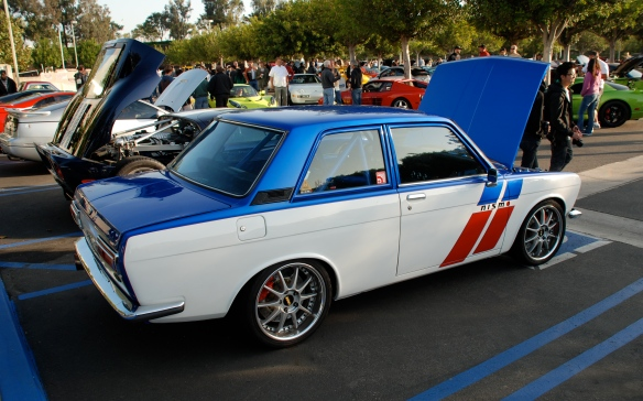 White & blue Datsun 510 coupe _3/4 side view_Cars&Coffee/Irvine_April 27, 2013