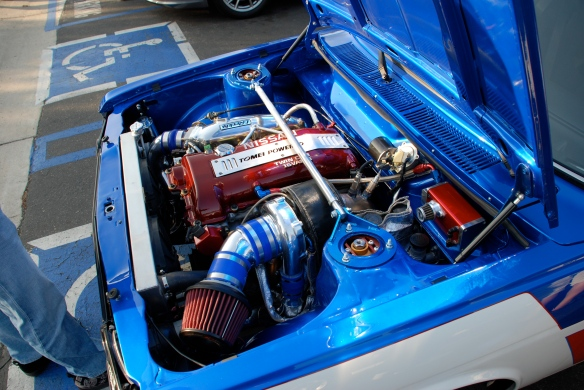 White & blue Datsun 510 coupe _turbo motor detail_Cars&Coffee/Irvine_April 27, 2013