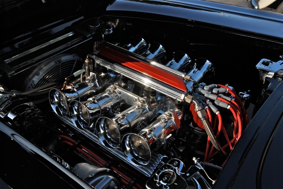 Black 1962 Chevrolet Corvette_ engine details _Cars&Coffee/Irvine_April 20, 2013