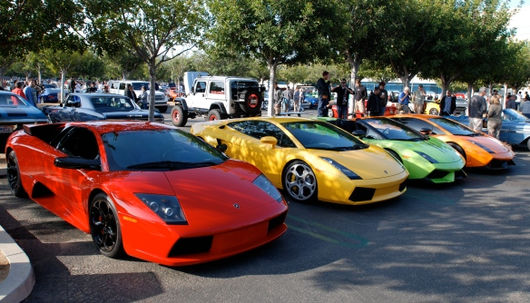 Lamborghini Row_ jelly bean colors_3/4 front view_Cars&Coffee/Irvine_April 27, 2013