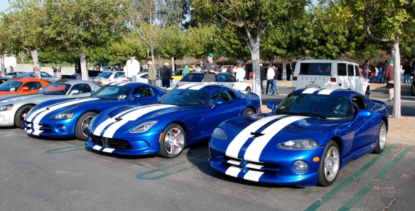 Viper Row_ trio of blue with white striped Dodge viper coupes__2013 SRT in middle_Cars&Coffee/Irvine_April 27, 2013