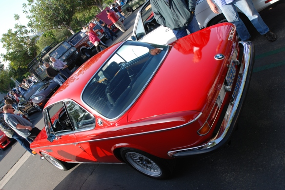 Red 1973 BMW 3.0 CS coupe_angled 3/4 rear view _Cars&Coffee/Irvine_April 27, 2013