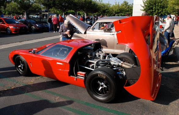 Red Ford GT 40 tribute with Gurney/Weslake motor_Rear deck raised_3/4 rear view_Cars&Coffee/Irvine_April 27, 2013