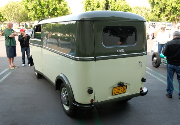 Two toned green DKW Schnellaster panel van_3/4 rear view_Cars&Coffee/Irvine_April 27, 2013