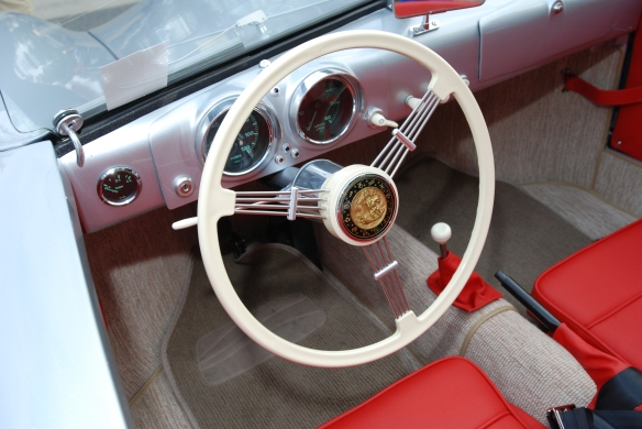 Porsche 356-01 recreation_ interior view & steering wheel from drivers side_C&C show-June 22, 2013