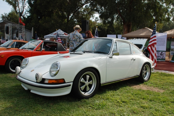 White 1972 Porsche 911 GT_3/4 front view, Porsche row_Boys Republic / Steve McQueen car&motorcycle show _June 1, 2013