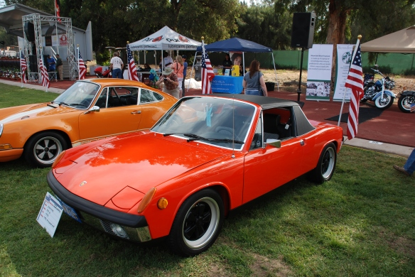 Tangerine 1970 Porsche 914-6_3/4 front view, Porsche row_Boys Republic / Steve McQueen car&motorcycle show _June 1, 2013