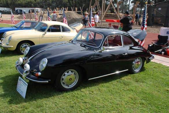 Black 1964 Porsche 356C_3/4 side view, Porsche  356 row_Boys Republic / Steve McQueen car&motorcycle show _June 1, 2013