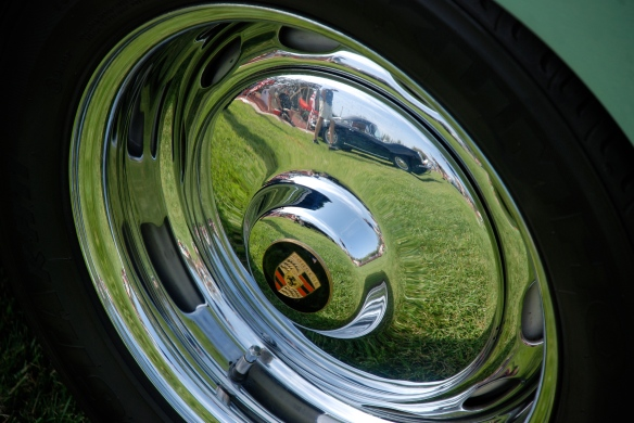 Auratium  Green 1956 Porsche 356 Cabriolet_Hubcap reflection, Porsche  356 row_Boys Republic / Steve McQueen car&motorcycle show _June 1, 2013
