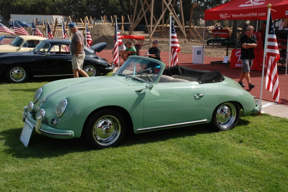 Auratium  Green 1956 Porsche 356 Cabriolet_3/4 side view, Porsche  356 row_Boys Republic / Steve McQueen car&motorcycle show _June 1, 2013