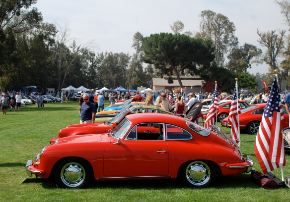 Red 1965 Porsche 356 coupe_side view, Porsche row_Boys Republic / Steve McQueen car&motorcycle show _June 1, 2013