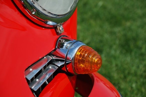 Red 1965 Porsche 356 coupe_front turn signal lens detail, Porsche row_Boys Republic / Steve McQueen car&motorcycle show _June 1, 2013