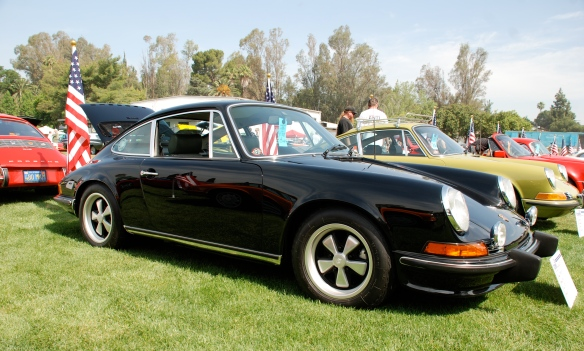 Black 1973 Porsche 911E coupe_3/4 side view, Porsche row_Boys Republic / Steve McQueen car&motorcycle show _June 1, 2013