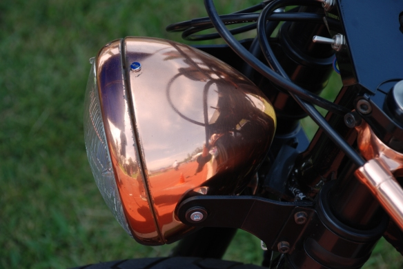 "Kott Motorcycles / ""The Patina"" bike_copper plated headlight and clip-ons_Boys Republic / Steve McQueen car&motorcycle show _June 1, 2013"