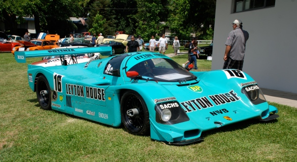 Turquoise blue 1988 Porsche Kremer 962C Leyton House coupe _3/4 front view _Boys Republic / Steve McQueen car&motorcycle show _June 1, 2013