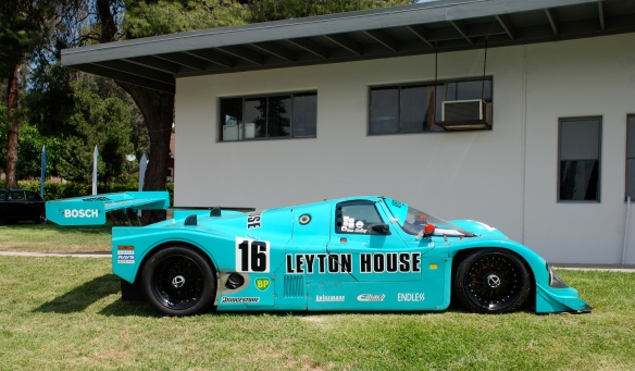 Turquoise blue 1988 Porsche Kremer 962C Leyton House coupe _side view _Boys Republic / Steve McQueen car&motorcycle show _June 1, 2013