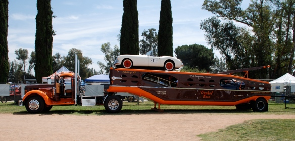Dunkel Bros. classic car carrier with cars__side view_Boys Republic / Steve McQueen car&motorcycle show _June 1, 2013