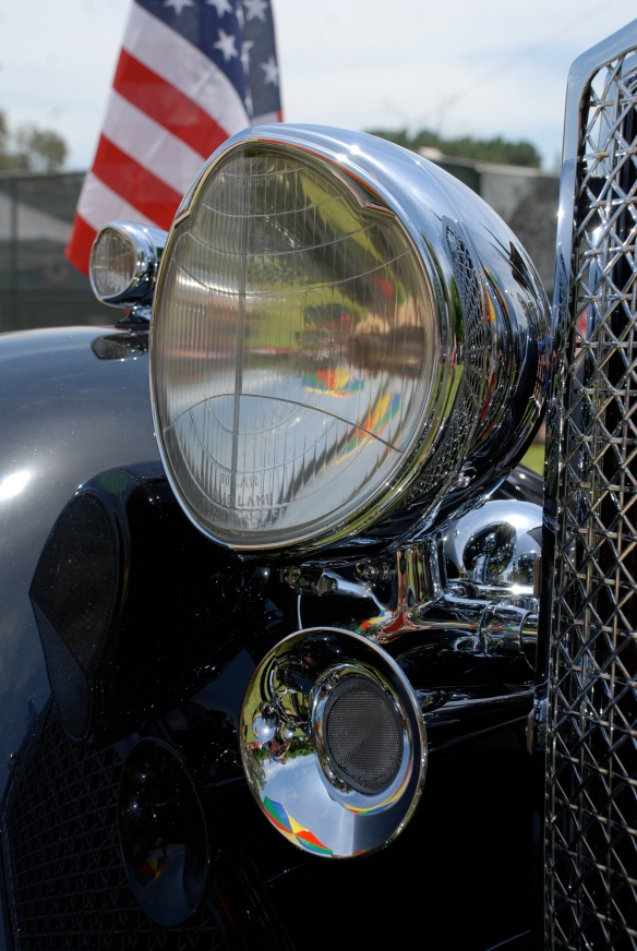 Black 1934 Packard Super 8 Dual Cowl Phaeton_front fender, headlight and horn reflections_Boys Republic / Steve McQueen car&motorcycle show _June 1, 2013