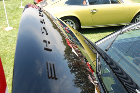 Black 1973 Porsche 911E coupe_rear decklid reflections, Porsche row_Boys Republic / Steve McQueen car&motorcycle show _June 1, 2013