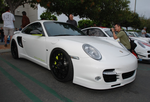 White Porsche 997 Turbo S, Edition 918 Spyder_ 3/4 front view_cars&coffee_July 6, 2013