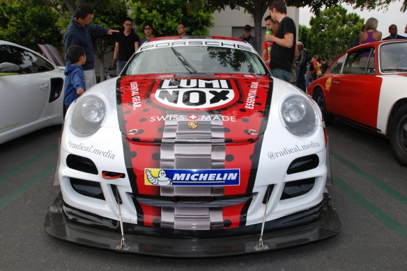 2013 Pikes Peak participant_ Porsche GT3 cup car driven by Jeff Zwart_front view_cars&coffee_July 6, 2013