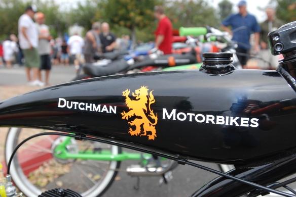 Dutchman Motorbikes_black fuel tank and logo detail__cars&coffee_ July 13, 2013