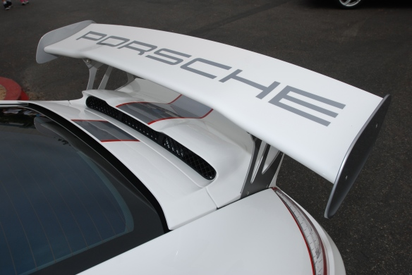 White Porsche GT3RS4.0_rear wing with Porsche graphic_cars&coffee_ July 13, 2013