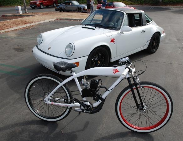 Dutchman Motorbikes_white Mobil oil graphics / bike and white Porsche 964 C2 targa w/graphic_cars&coffee_ July 13, 2013