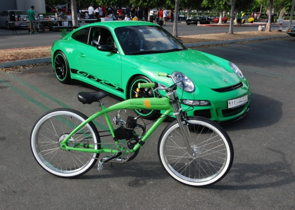 Dutchman Motorbikes_Viper green Porsche GT3RS and lime green Dutchman Motorbike__cars&coffee_ July 13, 2013