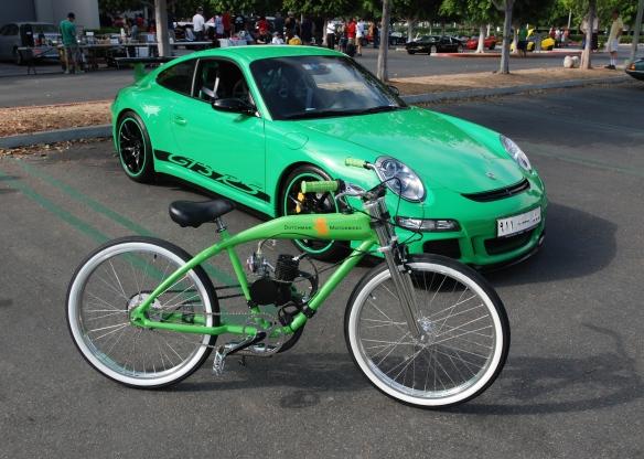 Dutchman Motorbikes_Viper green Porsche GT3RS and lime green Dutchman Motorbike__cars&coffee_ July 13, 2013
