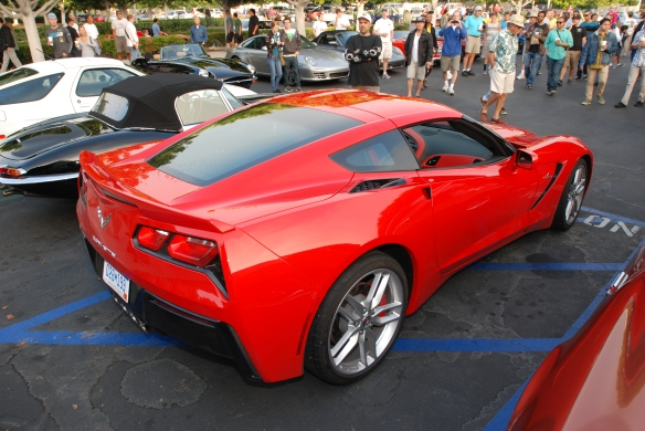 Red 2014 Corvette Stingray_3/4 rear view_ cars&coffee_August 24, 2013