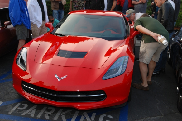 Red 2014 Corvette Stingray_front  view w/reflections_ cars&coffee_August 24, 2013