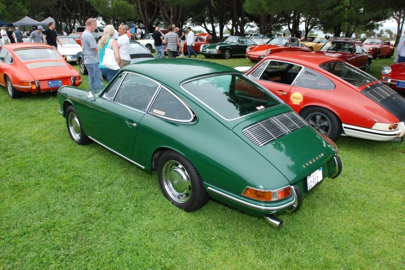 RGruppe parking area_ Early 911s w/ Green 1966 911 in foreground_ 3/4 rear view_ 356 Club of California Dana Point Concours_ July 21, 2013