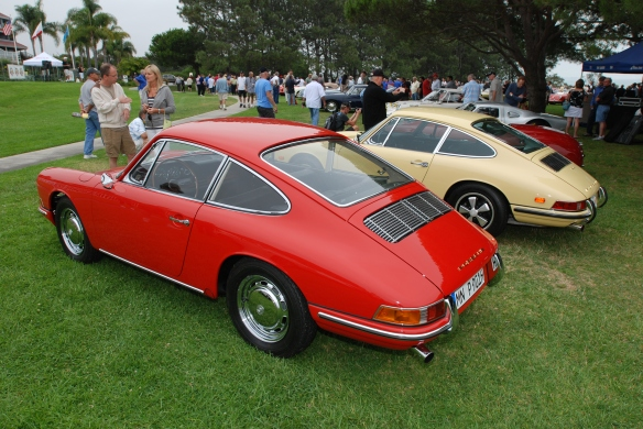 Red 1964 Porsche 901 &  pale yellow 1968 Porsche 911L _ 3/4 rear view_ 356 Club of California Dana Point Concours_ July 21, 2013