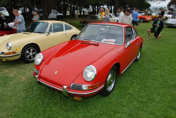 Red 1964 Porsche 901 & pale yellow 1968 911L_3/4 front view_ 356 Club of California Dana Point Concours_ July 21, 2013
