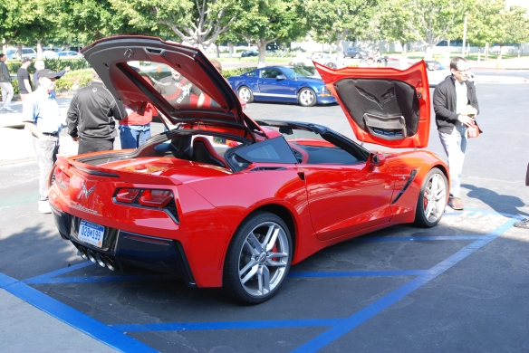 Red 2014 Corvette Stingray_3/4 view w/opened front hood and rear decklid_ cars&coffee_August 24, 2013