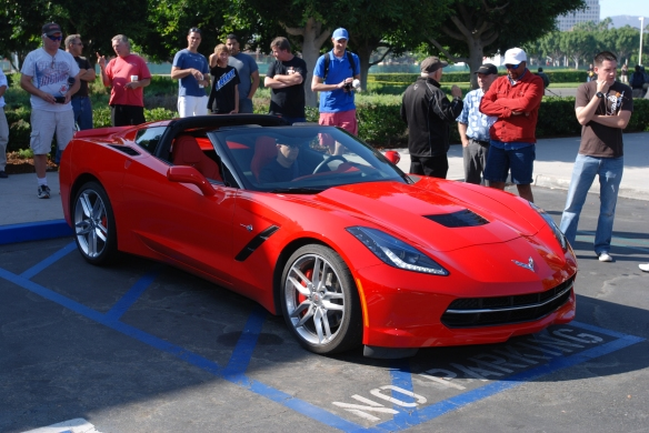 Red 2014 Corvette Stingray_3/4 front view_ cars&coffee_August 24, 2013