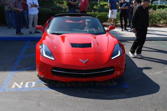 Red 2014 Corvette Stingray_ front view with LED running lights_ cars&coffee_August 24, 2013
