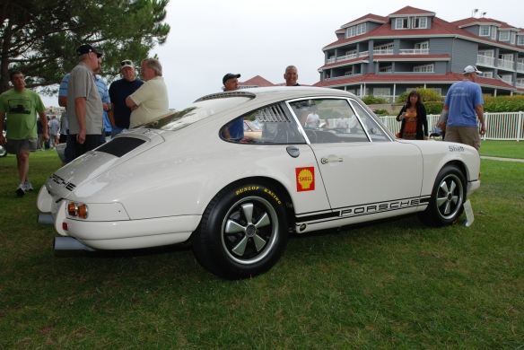 White 1967 Porsche 911R_3/4 rear view_356 Club of California Dana Point Concours_ July 21, 2013