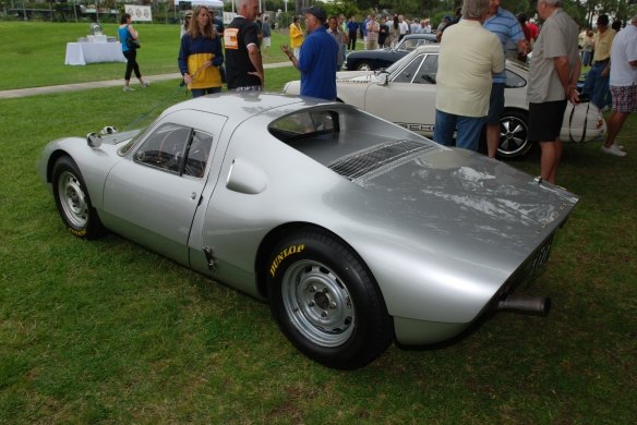 Silver 1964 Porsche 904 Carrera GTS_ 3/4 rear view with 911R in background_ 356 Club of California Dana Point Concours_ July 21, 2013