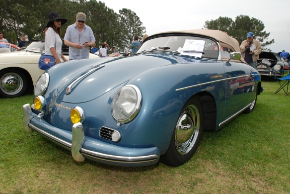 Medium blue 356 speedster with tan top_3/4 front view_ 356 Club of California Dana Point Concours_ July 21, 2013