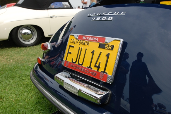 Azure Blue Porsche 356 speedster_rear license plate detail_356 Club of California Dana Point Concours_ July 21, 2013