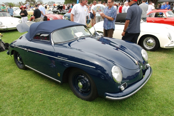 Azure Blue Porsche 356 speedster_3/4 side view_356 Club of California Dana Point Concours_ July 21, 2013