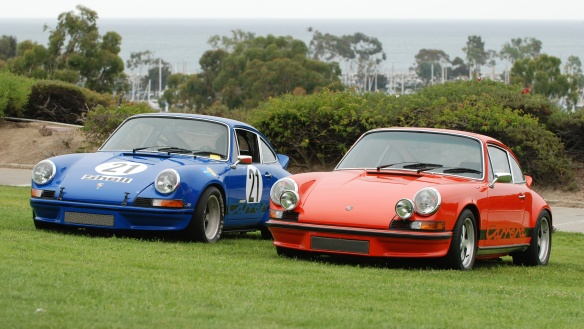 A pair of 1973 Porsche 911 Carrera's_RS and RSR_ with hidden spectator_356 Club of California Dana Point Concours_ July 21, 2013
