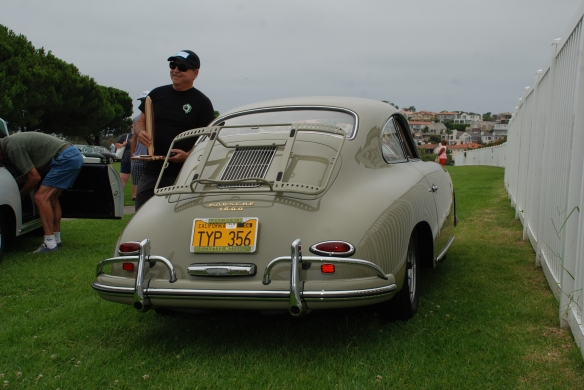 Porsche 356A coupe with front bumper overrider__trophy winner_rear view with reflections_356 Club of California Dana Point Concours_ July 21, 2013